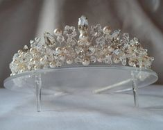 Elegance handmade wedding bridal tiara shown here in white/ivory pearls and ab clear crystals silver lined seed beads and clear diamante ,just over an inch 1/4 tall .