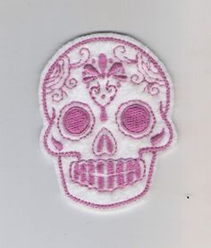 Mini Mexican Sugar Skull embroidery patch hot pink and by lizmiera, $3.75