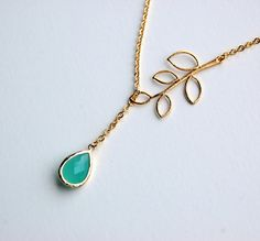 Gold Twig Lariat Necklace with Blue Ice Teardrop, mother, wife, sister, daughter, bridesmaid gift, bridal gift, birthday, wedding jewelry