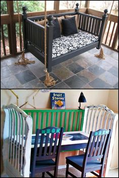 12 Wonderfully Repurposed Baby Cribs Kids grow… quickly! The cot, or crib if y. - Baby Cribs , 12 Wonderfully Repurposed Baby Cribs Kids grow… quickly! The cot, or crib if y. 12 Wonderfully Repurposed Baby Cribs Kids grow… quickly! The cot, or. Old Baby Cribs, Baby Crib Diy, Old Cribs, Crib Makeover, Furniture Makeover, Furniture Projects, Kids Furniture, Furniture Dolly, Table Furniture