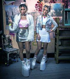 Picture of Rebecca & Fiona Nu Goth Fashion, 90s Fashion Grunge, Harajuku Fashion, Fashion Outfits, Womens Fashion, Fashion Fashion, Rave Outfit, Nasa Clothes, Party Kleidung