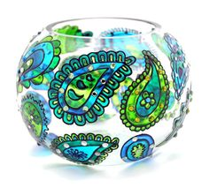 Hand Painted Glass Bowl, Blue Green paisley, $97.00  Blue and green are the colors of nature, water and trees... they're cool, fresh, lively, cheerful and friendly... and they provide a sense of calm, contentment and harmony...