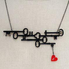 Skeleton Keys to my Heart Necklace - Black Acrylic - Silhouette Laser Cut Necklace Key To My Heart, Tiny Heart, Skeleton Key Necklace, Skeleton Keys, Steampunk Necklace, Key Jewelry, Jewelry Making, Jewelry Ideas, Key Projects
