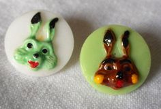 Set of 2 VINTAGE Painted Rabbit Bunny Heads on Glass by abandc