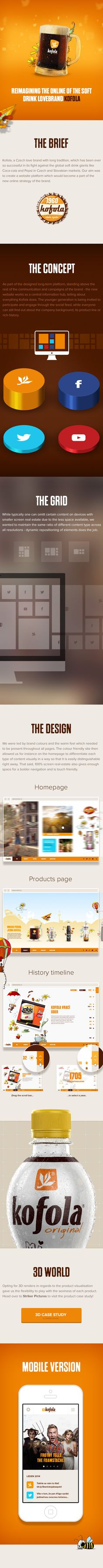 Kofola Online Reimagined by Lubos Buracinsky, via Behance Web Design Inspiration, Beverage, Layouts, Behance, Branding, Graphic Design, Website, Digital, Food
