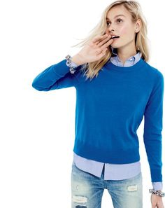 J.Crew women's Tilly sweater in tidewater, boy shirt in end-on-end French blue, full spectrum crystal bracelet, and Point Sur X-Rocker Japanese selvedge jean.