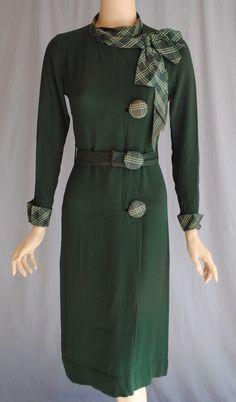 Vintage 1930s Green Deco Dress Belt Button Detail Plaid Cuff Collar NRA Label (180)