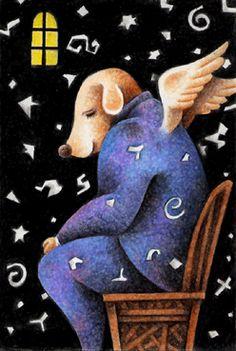 Fairy tale illustration - Dog that became god