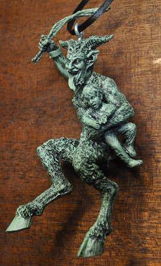 Krampus Ornament version 2 green finish by Dellamorteco on Etsy, $20.00