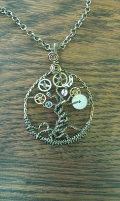 Steampunk Tree of Time Wire Wrapped Necklace by cottagecharm951