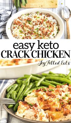 This keto crack chicken recipe is bursting with flavor. Tender and juicy chicken tenders topped with crumbles of bacon, and of course cream cheese and mozzarella for that cheesy crack chicken love. Sugar Free Recipes Dinner, Carb Free Recipes, Best Low Carb Recipes, Low Carb Chicken Recipes, Gluten Free Chicken, Healthy Dinner Recipes, Keto Recipes, Cooking Recipes, Keto Chicken