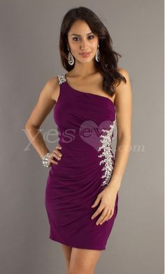 Pretty One Shoulder Purple Short Homecoming Dresses with Beaded.$129.99