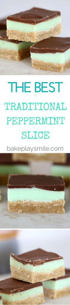 Peppermint Slice Traditional Peppermint Slice A perfect 3 layer traditional peppermint slice! You…Traditional Peppermint Slice A perfect 3 layer traditional peppermint slice! Mini Desserts, Easy Desserts, Delicious Desserts, Dessert Recipes, Yummy Food, Healthy Desserts, Weight Watcher Desserts, Peppermint Slice, Peppermint Cookies