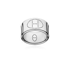 Eclipse Hermes ring in sterling silver, GM, size 46  The Eclipse collection is inspired by the perforated motif found on the Evelyne bag.