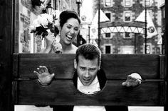 Having fun at the #Halifax Historic Properties via Sabrina Thurlow #Photography. #wedding #bride #groom #humour