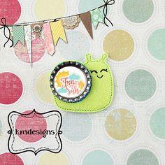 Bottle cap Snail Feltie ITH Embroidery design file