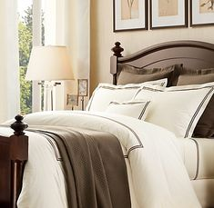 I really like this bedding set from Restoration Hardware (in blue, of course)