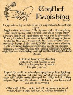 Conflict Banishing Spell, Book of Shadows Page, BOS Pages, Real Wiccan Spell picclick.com