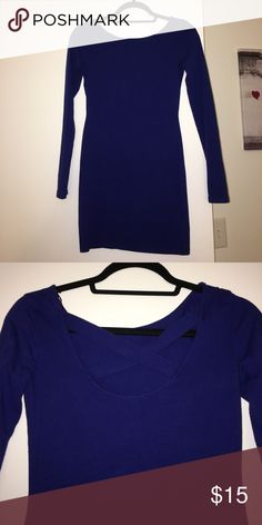Forever 21 long sleeve dress Royal blue long sleeve dress. Back has criss cross style at top. 96% cotton. Only worn once. Fits a little snug but hugs all the right parts. Excellent condition Dresses Long Sleeve