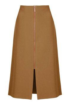 Zip Detail Midi Skirt - Topshop USA