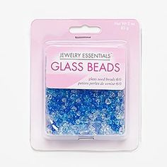 Seed bead mix, glass, blue / aqua blue / clear, #6 round. Sold per 85-gram pkg, approximately 1,200 beads.