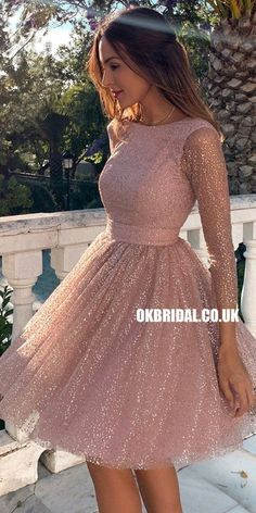 Sparkly A-line Long Sleeve Backless Cute Homecoming Dress, – OkBridal Sleeves prom dresses / prom dresses with sleeves Long Sleeve Homecoming Dresses, Hoco Dresses, Tulle Prom Dress, Spring Dresses, Dress Outfits, Wedding Dresses, Backless Dresses, Short Tulle Dress, Sparkly Homecoming Dresses