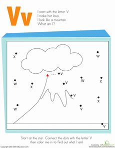 AWESOME SITE! Letter Dot to Dot: V Worksheet