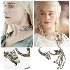 Jewelry designer Yunus & Eliza partnered with GoT Costume Designer Michele Clapton to create a sterling silver neck sculpture for June/July BAZAAR cover girl Emilia Clarke. The London-based art jeweler hand-carved the customized piece for Clarke's character, Daenerys Targaryen, clearly paying homage to the Mother of Dragons.