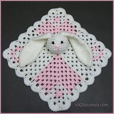 """Hippity Hoppity Bunny Lovey   """"Aw"""" doesn't even begin to cover the cuteness of this easy crochet baby blanket with its floppy-eared bunny!"""