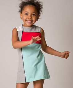 This darling dress combines artistic color blocking and a classic A-line shape for a look both trendy and timeless. Soft, stretchy cotton-blend fabric and a buttoned keyhole closure in back mean this stylish stunner is a cinch to slip on. Mondrian Dress, Blue Poppy, Sewing For Kids, Color Blocking, Poppies, Toddler Girl, Infant, Light Blue, High Neck Dress