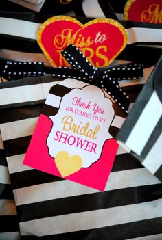 Pink BRIDAL SHOWER Thank You Tags  Love is Sweet by KROWNKREATIONS