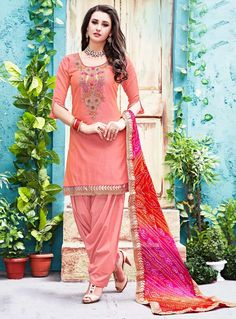 Peach Chanderi Patiala Salwar Suit 86672