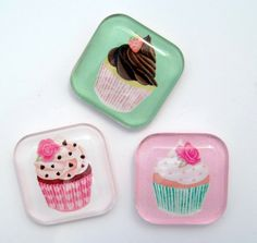Cupcake Magnets - Pink and Green - Set of 3 One Inch Glass Magnets. via Etsy.