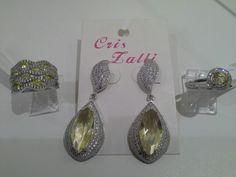 Aneis e brincos prata rodinada, cristal e zirconias. #criszalli