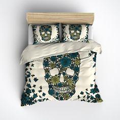 Blue Green Dahlia Skull Duvet Bedding Sets