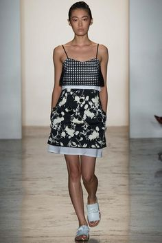 the mix of black + white prints on this dress would be perfect for bedding #NYFW #runwaytohome
