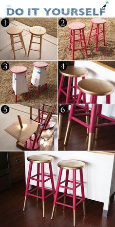 23 Spray Paint Projects That Turn Trash To Treasure 23 proyectos de pintura en aerosol que convierte Upcycled Furniture, Furniture Projects, Furniture Makeover, Home Projects, Painted Furniture, Diy Furniture, Bar Stool Makeover, Furniture Stores, Spray Paint Furniture