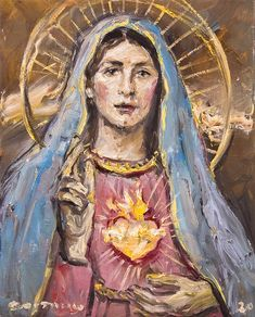 Virgin Mary Painting, Virgin Mary Art, Mother Pictures, Jesus Pictures, Christian Paintings, Christian Art, Blessed Mother Mary, Blessed Virgin Mary, Religious Paintings