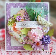 Przestrzenna kartka urodzinowa. Kwieciście   #scrapbooking, #card, #kartka, #handmade, #rękodzieło, #malowanyimbryczek, #flowers, #kwiaty, #birthday