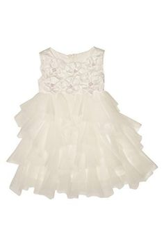 Biscotti Baby-Girl's Infant Crème de la Crème Dress - This stunning dress in creamy ivory charmeuse and netting is truly the crème de la crème! With a bodice covered in three dimensional flowers and a twirly skirt of cascading ruffles, prepare for compliments galore!