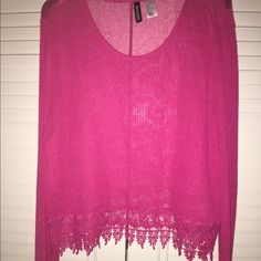 H&M Bright Pink sheer Too NWOT Bright Pink long sleeve shirt with detailing at bottom. H&M Tops Blouses