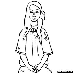 100% free coloring page of Amedeo Modigliani painting - Alice. You be the master painter! Color this famous painting and many more! You can save your colored pictures, print them and send them to family and friends!