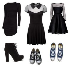 """""""School style"""" by rebeccayg on Polyvore featuring Killstar, Marc by Marc Jacobs and Converse"""