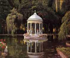 Santiago Rusiñol i Prats ~ Modernist/Symbolist painter Nature Aesthetic, Princess Aesthetic, Fantasy Landscape, Beautiful Architecture, Dream Garden, Garden Art, Aesthetic Pictures, Gazebo, Beautiful Places