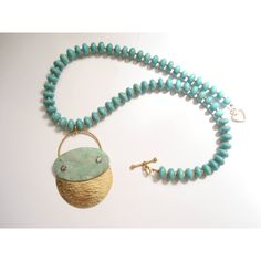 Turquoise Howlite Necklace Hammered Bronze Riveted Pendant Modern... ($33) via Polyvore featuring jewelry, necklaces, bronze necklace, turquoise choker, beaded necklaces, bead pendant and turquoise pendant necklace