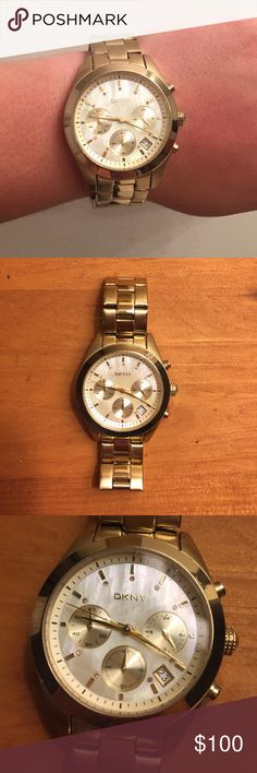 """DKNY Gold Watch DKNY gold watch with mother of pearl face. Needs new battery. Back of watch is slightly scuffed. Face is 1"""" in diameter, band is 3/4"""" thick. Make an offer! DKNY Accessories Watches"""