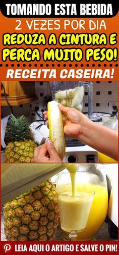 Esta é uma das receitas mais eficazes na luta contra as gordurinhas. Acredite! #dicas #truques #receitas #caseiro #gordura #perderpeso #reduzir #emagrecer #magra #percaquilos Bebidas Detox, Low Carb Diet, Milkshake, Home Remedies, Diet Recipes, Diet Meals, Smoothies, Pineapple, Good Food