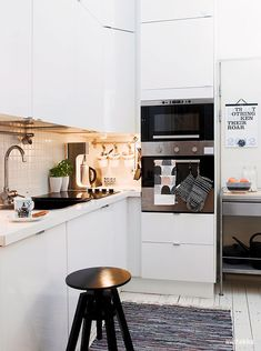 "In a tiny house, this counter arrangement would work out well for a small appliance ""garage"". The light in this corner space will keep it from being just a deep dark hole. LOL."