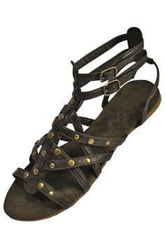 06d3bf4288987 Gladiator Style Grommet Studded Flat Sandals Brown Gladiator Sandals