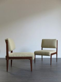 Italian Wood & Fabric Lounge Chairs, 1950s, Set of 2 for sale at Pamono